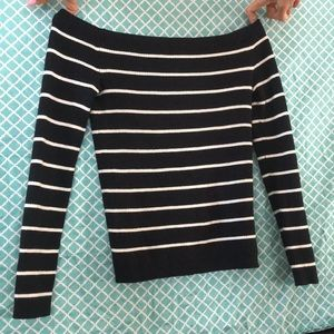 Off-the-shoulder black and white striped top